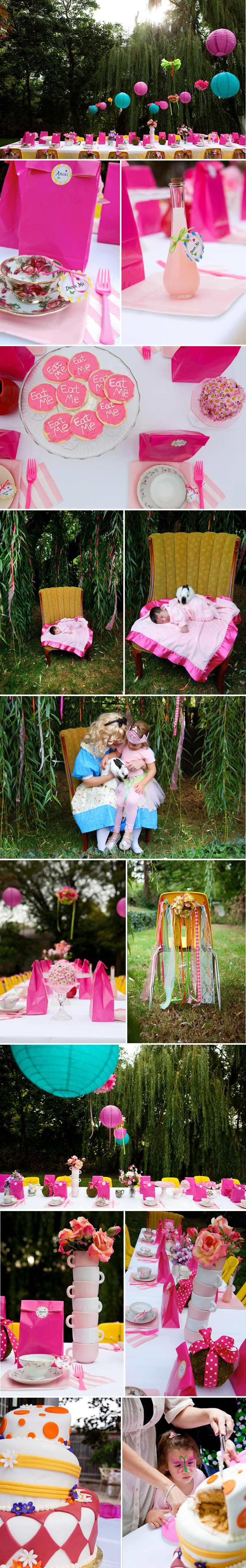 A whimsical Alice in Wonderland Birthday Party with bunny's, sweets and more. Click for free printables and downloads.