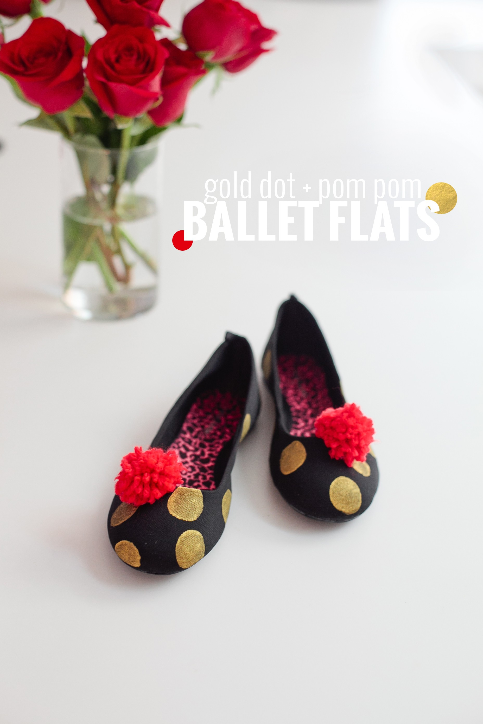 DIY Gold Dot and Pom Pom Ballet Flats by Fresh Mommy Blog