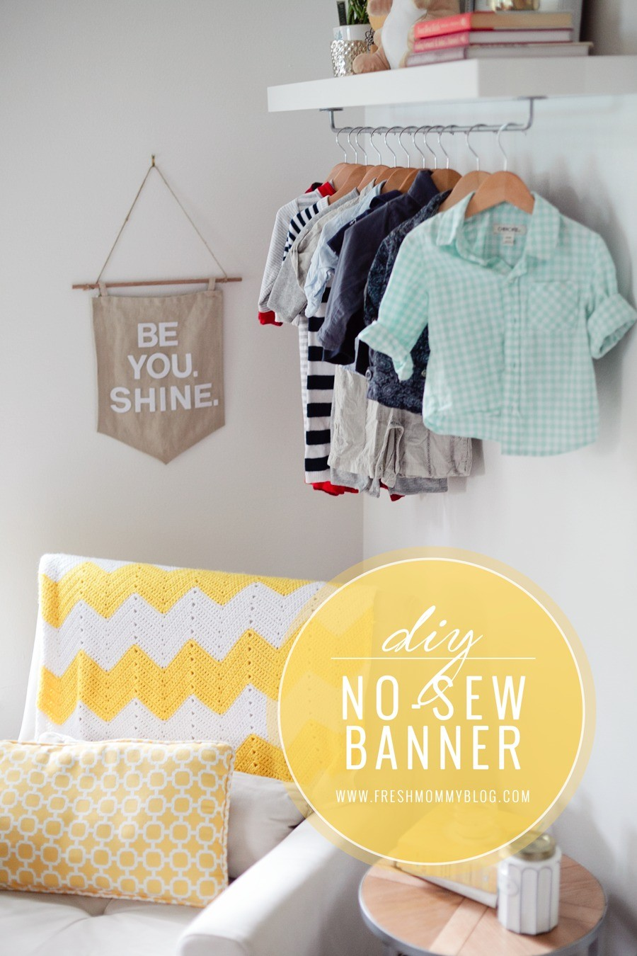 DIY No Sew Pennant Style Wall Banner