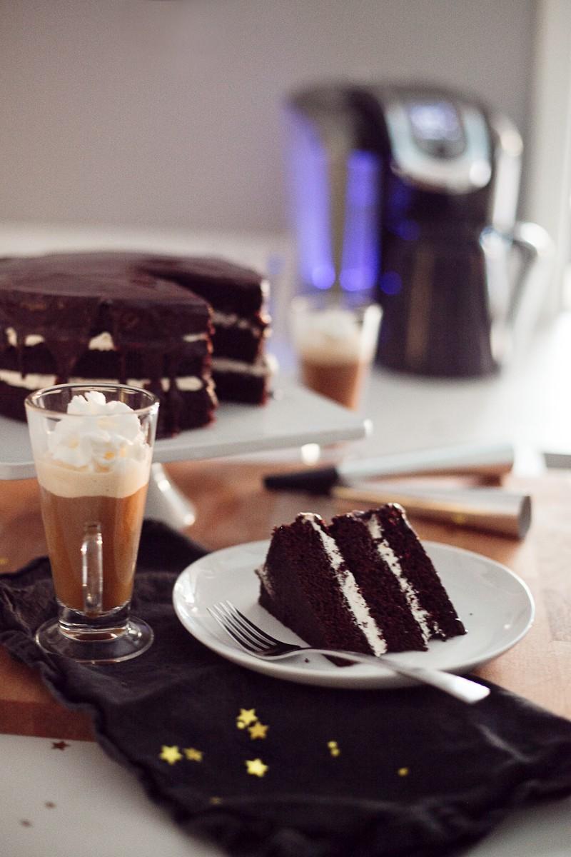 Chocolate Mocha Cake with Buttercream and Dark Chocolate Cinnamon Glaze-15