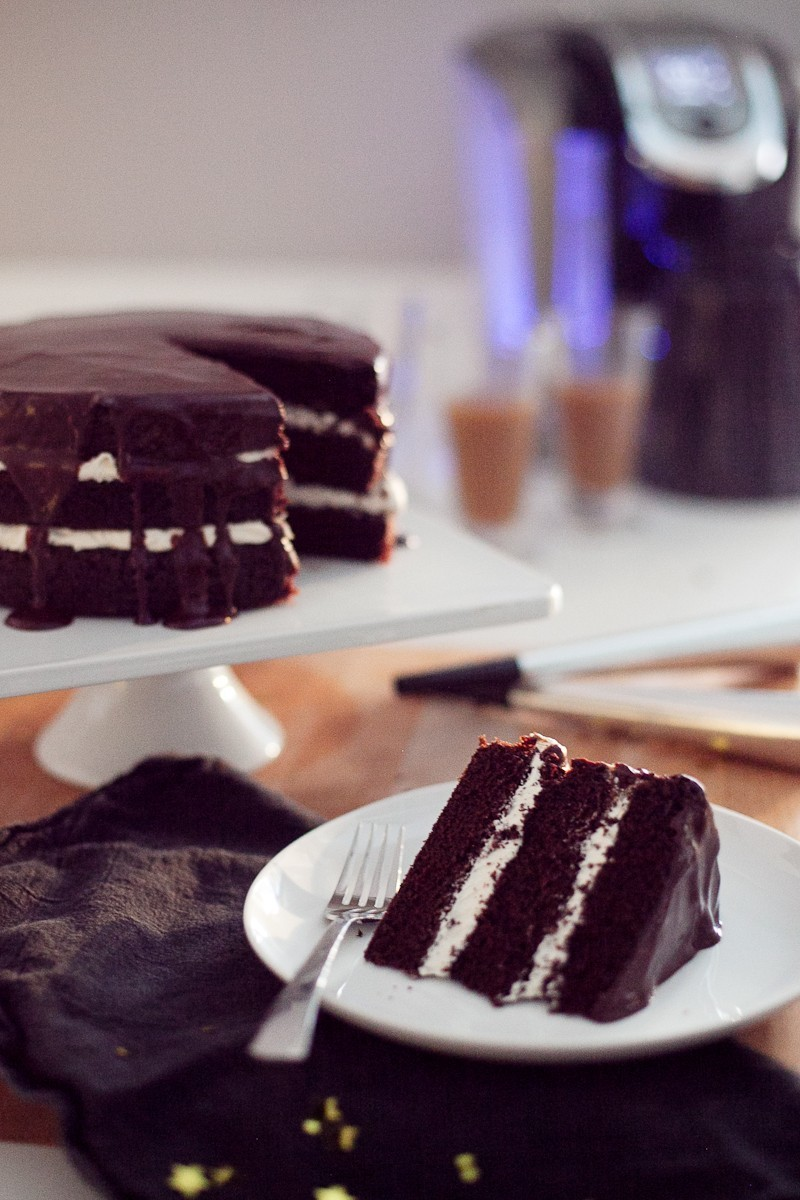 Chocolate Mocha Cake with Buttercream and Dark Chocolate Cinnamon Glaze-16