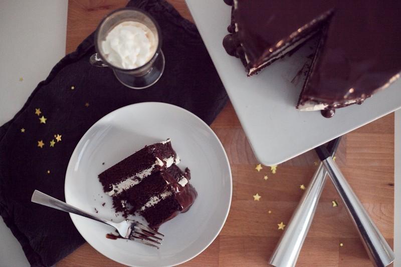 Chocolate Mocha Cake with Buttercream and Dark Chocolate Cinnamon Glaze-18