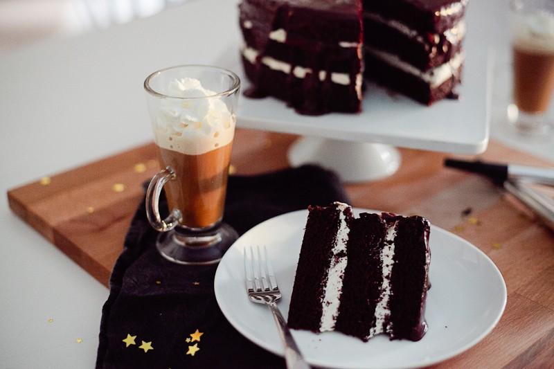 Chocolate Mocha Cake with Buttercream and Dark Chocolate Cinnamon Glaze and dulce de leche coffee