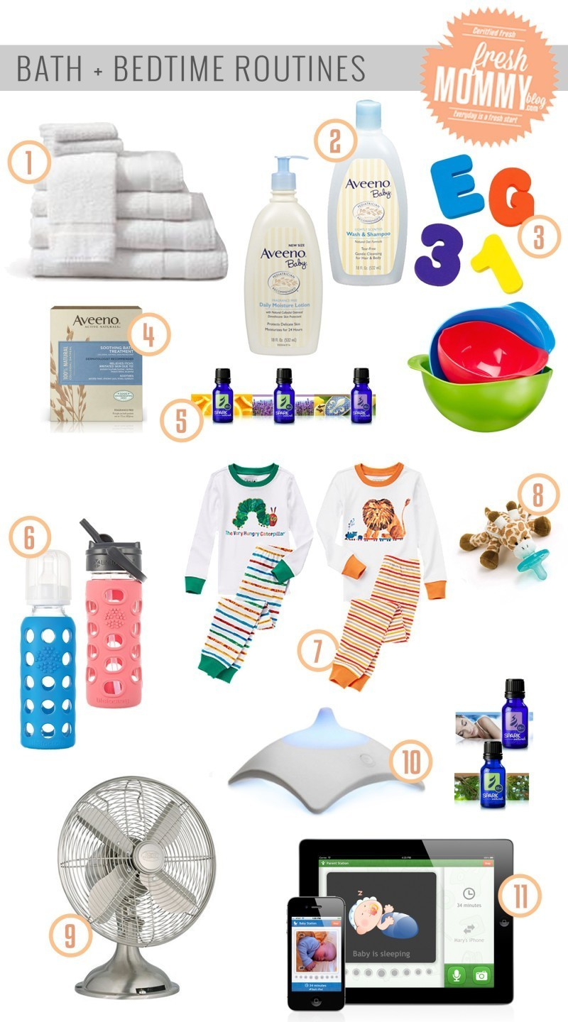The necessities for a great bath and bedtime routine for babies and kids, from Aveeno, Gymboree, Lifefactory, Spark Naturals Essential Oils and more!