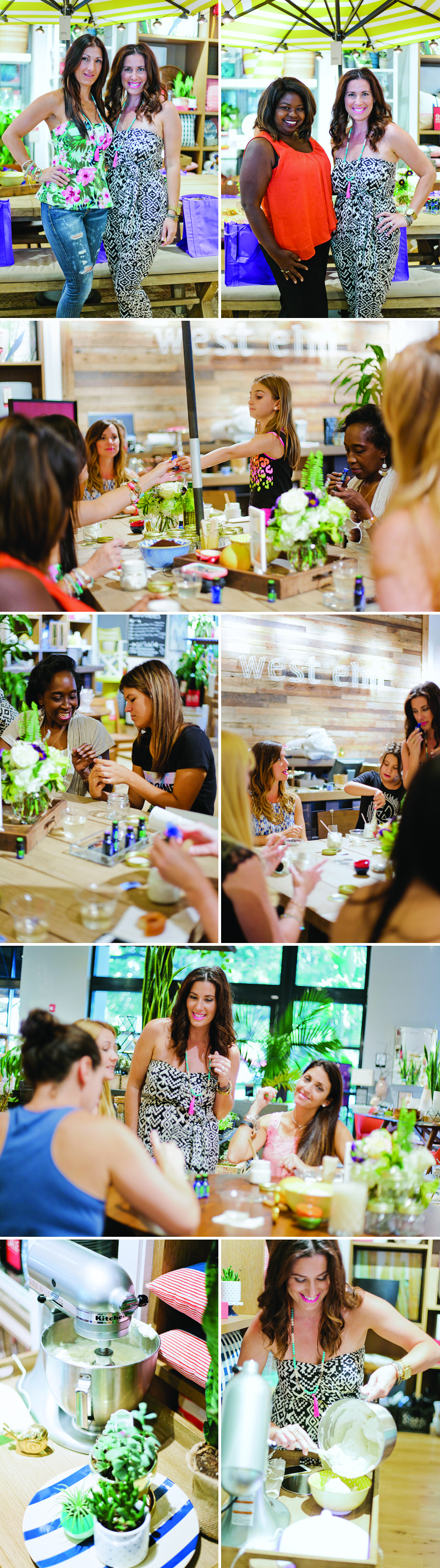 West Elm local events with Fresh Mommy Blog #freshevent DIY body butter and scrub with essential oils