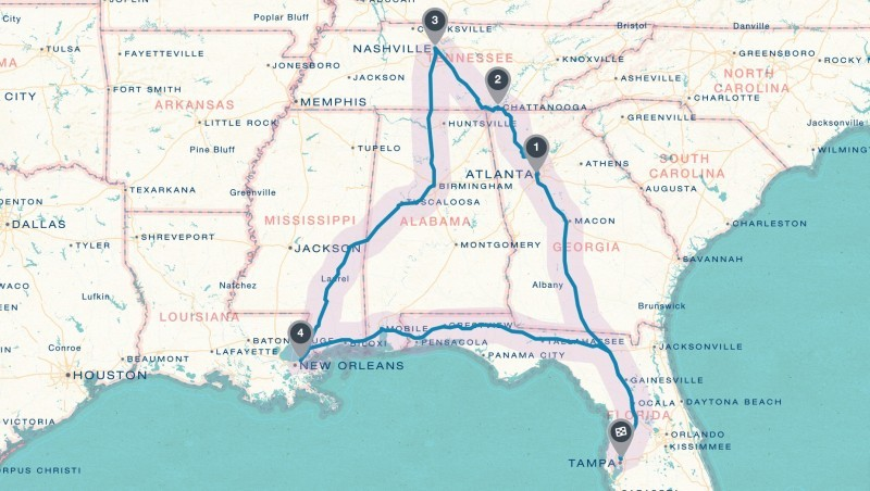 #BlueSummerTour2015 Road Trip planned with Roadtrippers.com and Booking.com