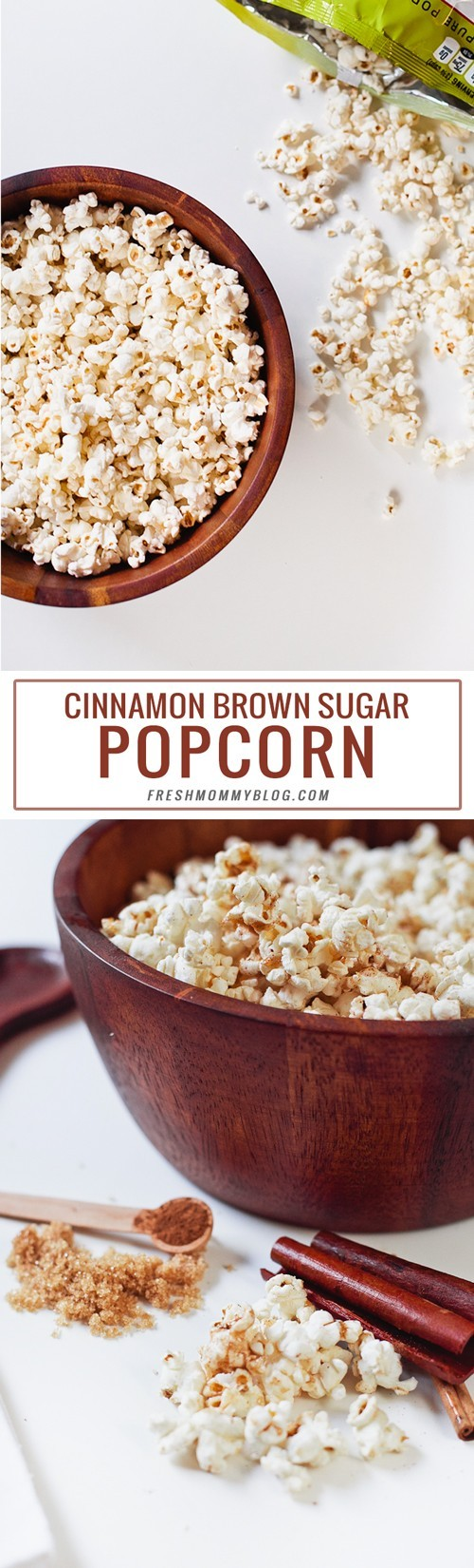 Cinnamon Brown Sugar Popcorn, the perfect low calorie recipe for National Popcorn Day
