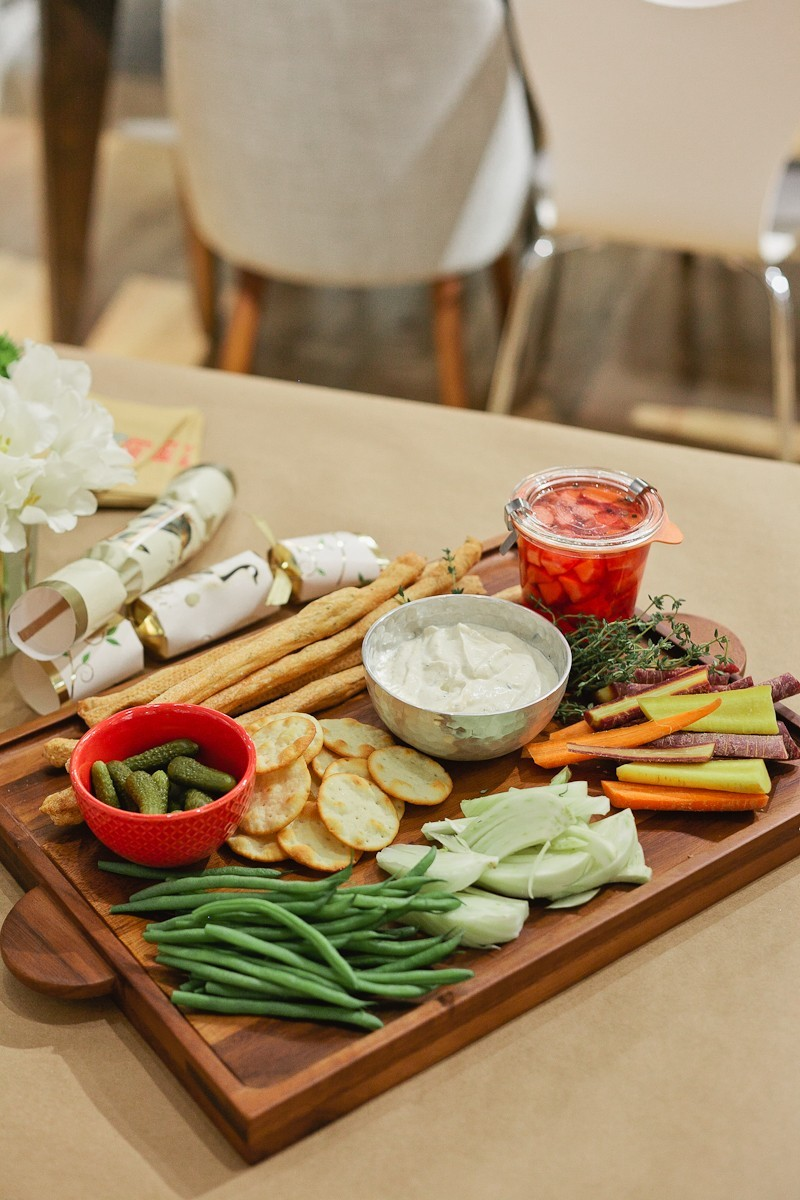 Delicious creamy lemon + tofu dip and Modern Relish Tray at this #FreshEvent at West Elm with Tabitha Blue
