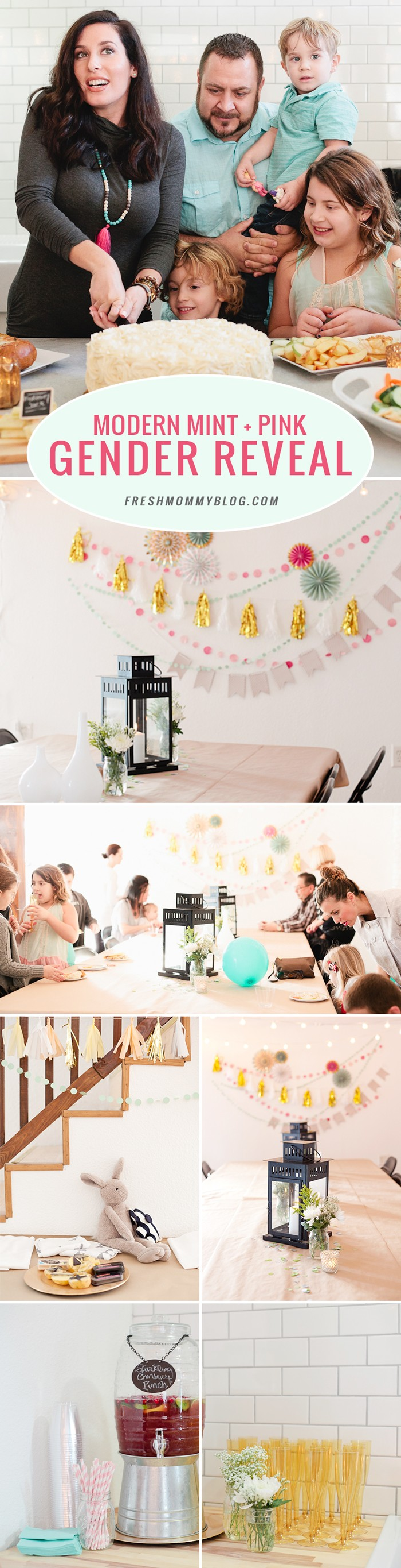 A modern mint + pink gender reveal party with DIY stamped burp cloths. Bright and cheery!