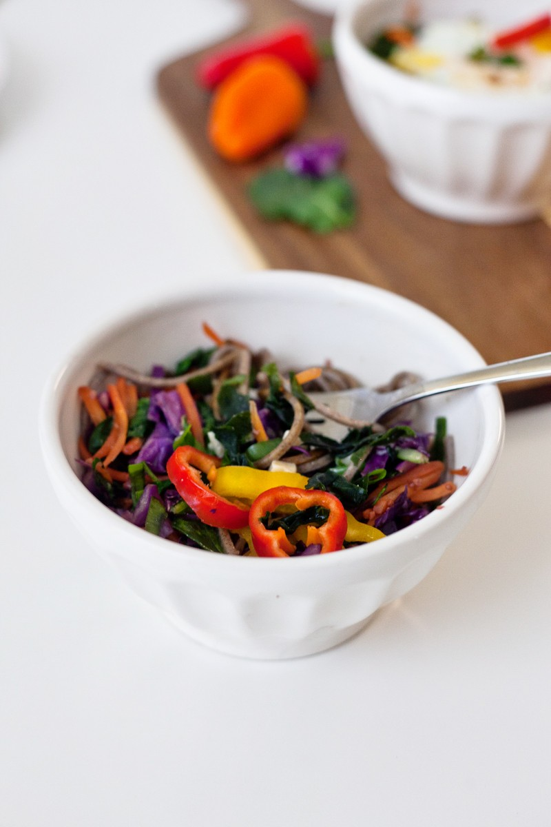 Miso Noodle Bowl with Organic Girl Greens and Vegetables, it's so good, so wholesome and healthy!