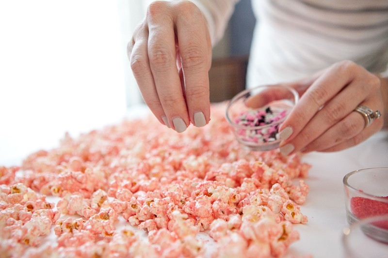 Pink White Chocolate Popcorn for a sweet Valentine's Day Brunch-3
