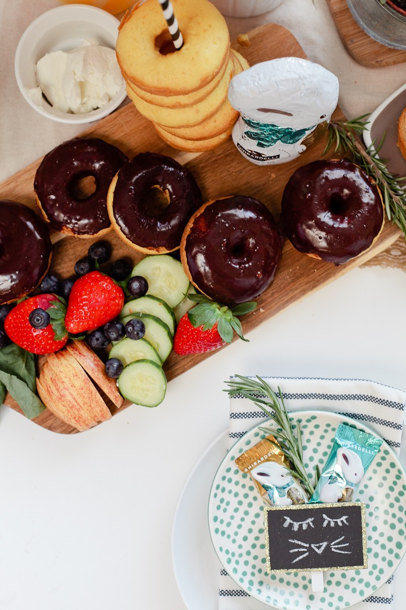 Easy Easter entertaining. Simply Delicious Easter Crostini Brunch with donuts and Ghiradelli chocolate!