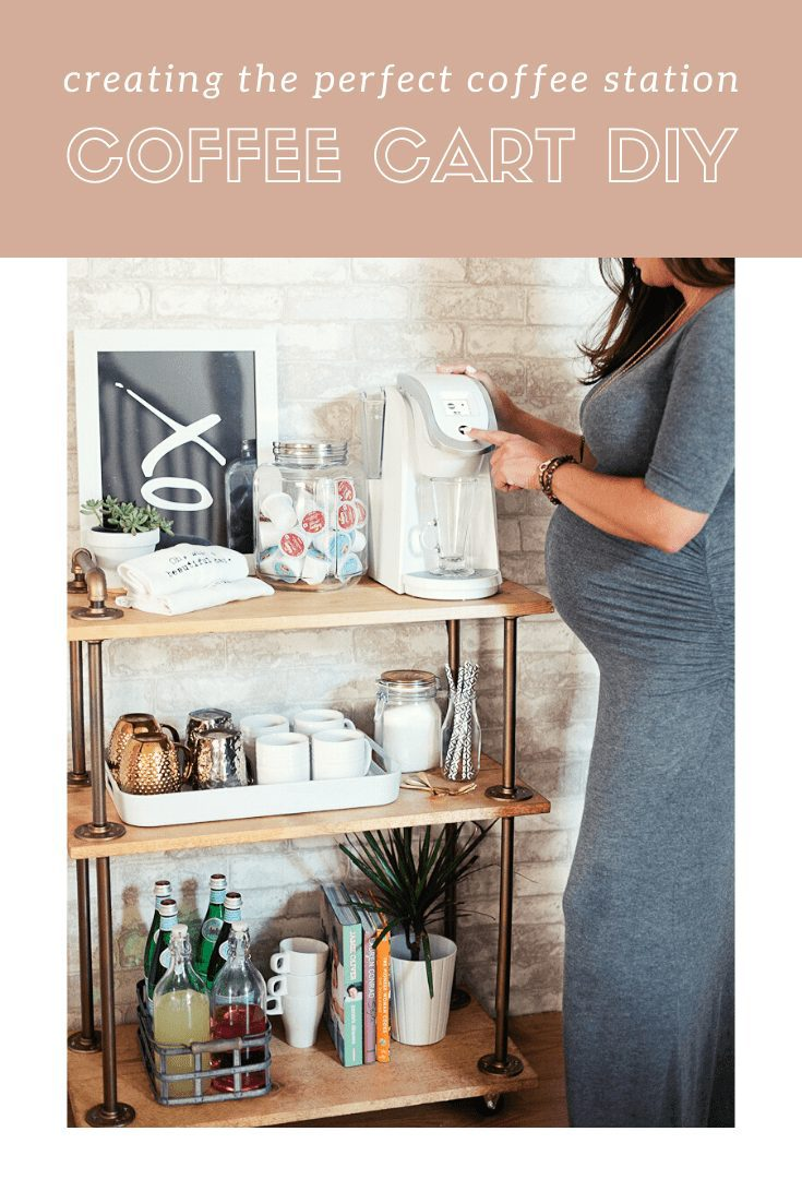Create the Perfect Coffee Station with a DIY Coffee Cart Bar Cart, a rustic take on the classic bar cart, build it yourself and use it for coffee! Full DIY bar cart tutorial, ideas, and styling by popular Florida lifestyle blogger Tabitha Blue of Fresh Mommy Blog.