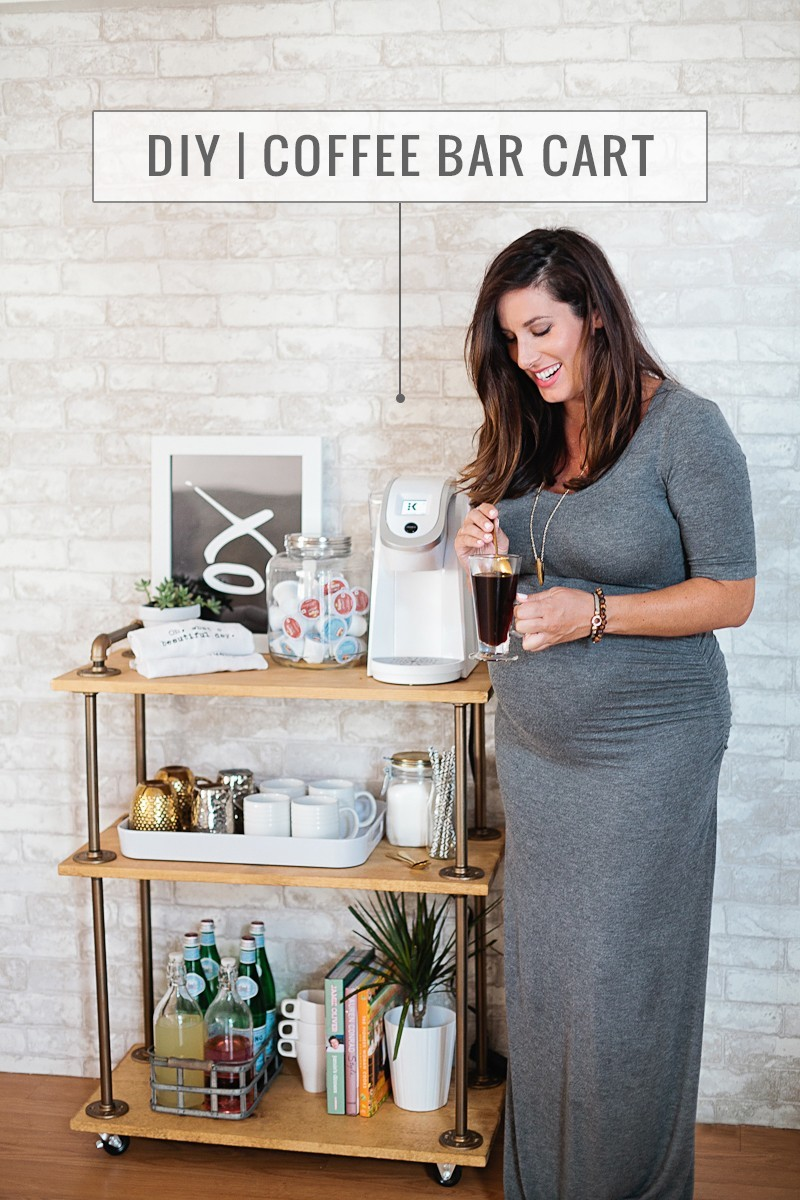 DIY Coffee Bar Cart, a rustic take on the classic bar cart, build it yourself and use it for coffee! Full DIY bar cart tutorial, ideas and styling by popular florida lifestyle blogger Tabitha Blue of Fresh Mommy Blog.