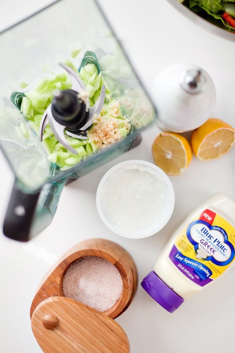 Greek Salad with Tzatziki Dressing and Chicken, a delicious and refreshing recipe!