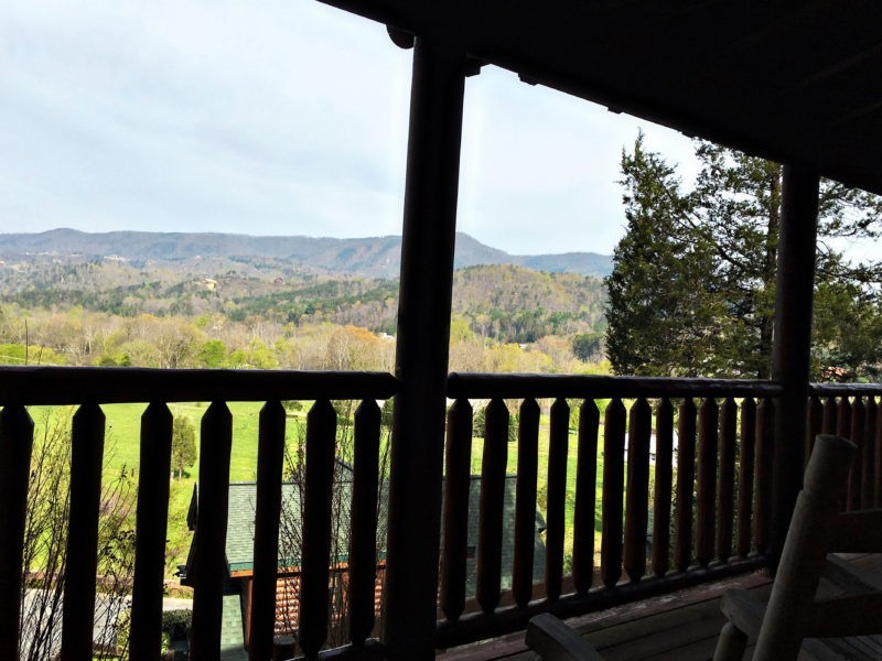 Pigeon Forge Family Fun Vacation Cabin Fever Vacations Absolute High at Covered Bridge Patio View