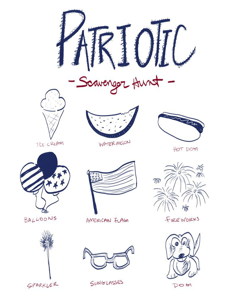 Patriotic Scavenger Hunt, perfect for the Fourth of July!