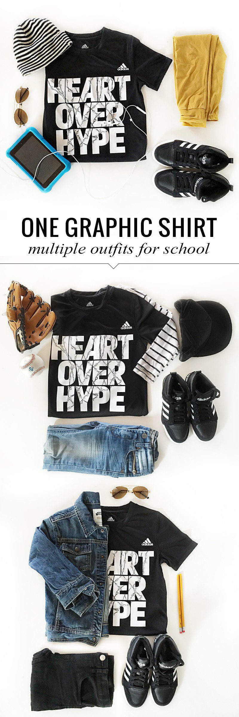 Back to School Shopping- 5 Tips to a Killer Wardrobe and multiple school looks with a single graphic tee for boys