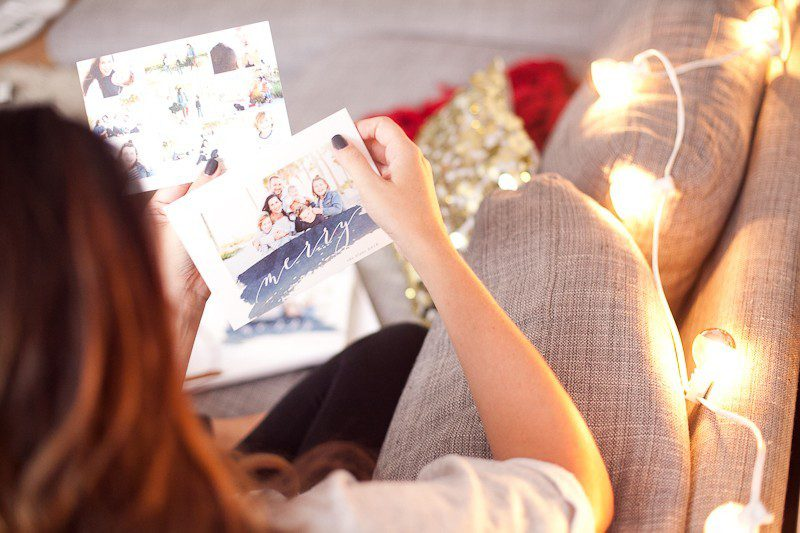 Blue Family Photo Christmas Cards 2016 from Minted
