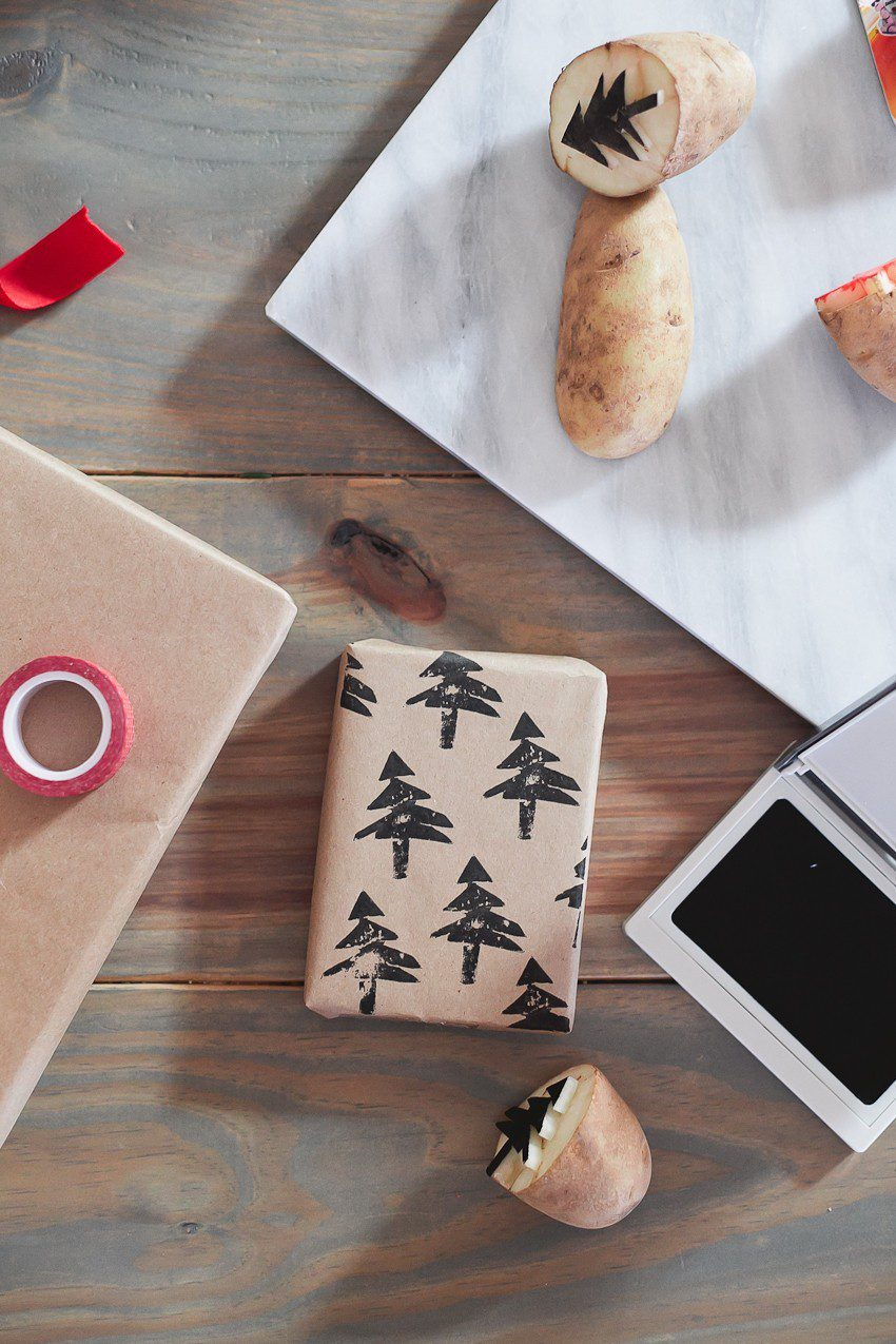 Save time and money with this easy and simple Christmas gift wrap hack! Gift wrapping ideas you can't miss, like using a potato to stamp your customized design.  | Easy and simple Christmas gift wrapping ideas featured by top Florida life and style blog, Fresh Mommy Blog