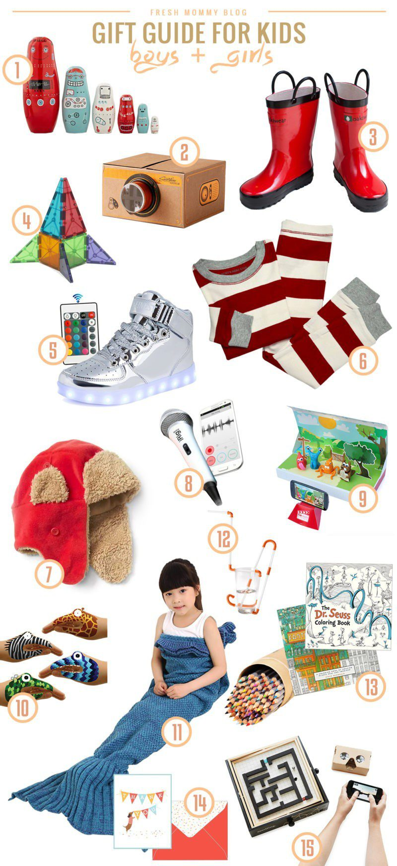Kids Gift Guide for the Holidays. Christmas present ideas children love, both boys and girls!! From something to wear to learning activities and interactive play toys, we've got it here!
