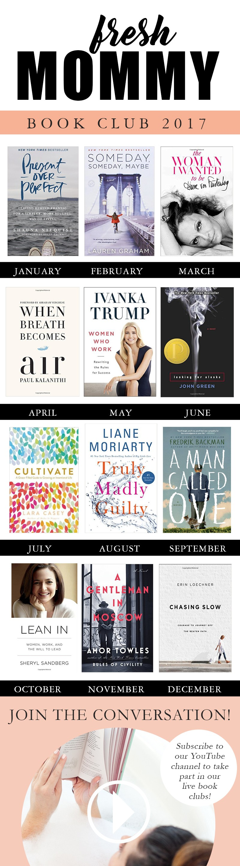 My 2017 Book Club Picks and Plan | #FreshMommyReads | Ever feel like your reading list is longer than you can finish? Well, put that aside for the moment and join us in our new #FreshMommyReads BOOK CLUB!! We've rounded up TOP picks from all different genres and will be having live reviews and conversations right here on this channel and live events at our studio every month as well!