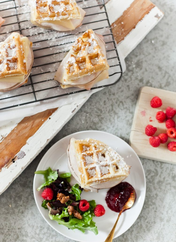 Ham and Turkey Monte Cristo Waffle Skewers