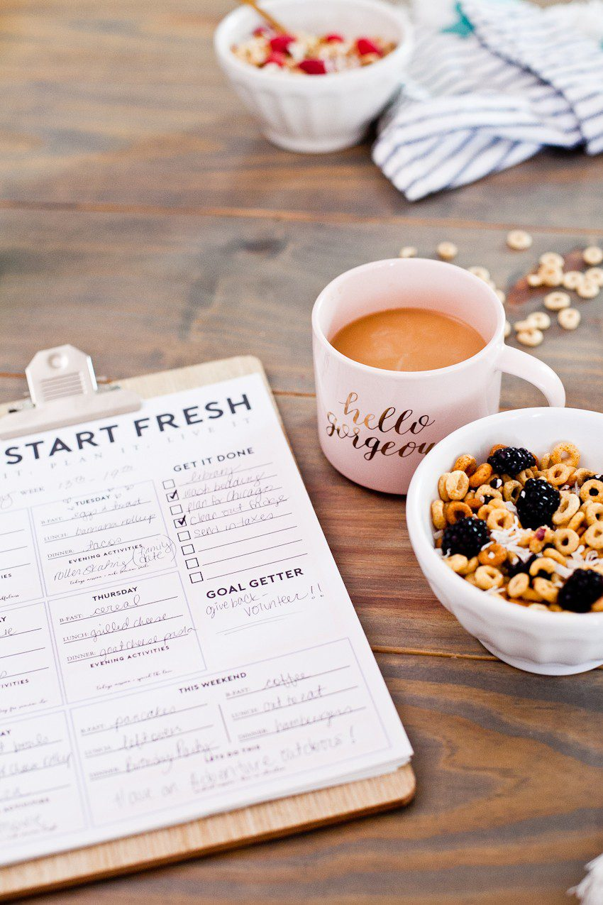 "The ""Let's Start Fresh"" morning meal planning download is the secret sauce to keep mornings running smoothly, especially for any busy family! Download and print and use to keep mornings on track! Help whether kids run out to school or homeschool help. Homeschool ideas from top Florida lifestyle blogger Tabitha Blue of Fresh Mommy Blog. 