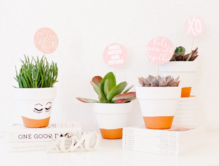DIY Painted Planter + Free Printable Valentine's Day Tags