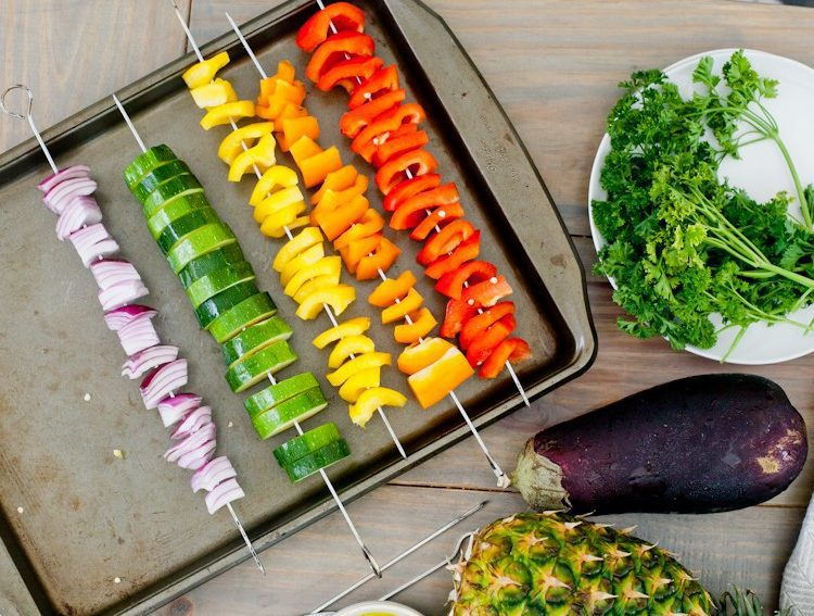 Vibrant Rainbow Kabobs with Grilled Sweet Potato Fries. With an easy marinade using simple ingredients, these kabobs are so vibrant, flavorful and sure to keep you going this summer! So in honor of National Eat More Fruits and Vegetables Day and Cars 3 hitting theaters, we call these sweet potato fries Maters Taters. :) Serve with grilled chicken or fish if you prefer, and serve for lunch or dinner... or a fun party!