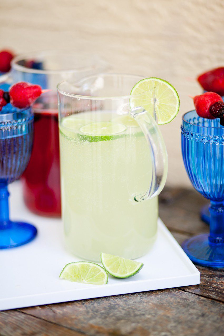 Sparkling Party Punch. Make it two ways... a sparkling red berry punch or sparkling limeade for the perfect summer party drink. Top with frozen berries for a festive touch... Memorial Day, July 4th, red white and blue drinks!