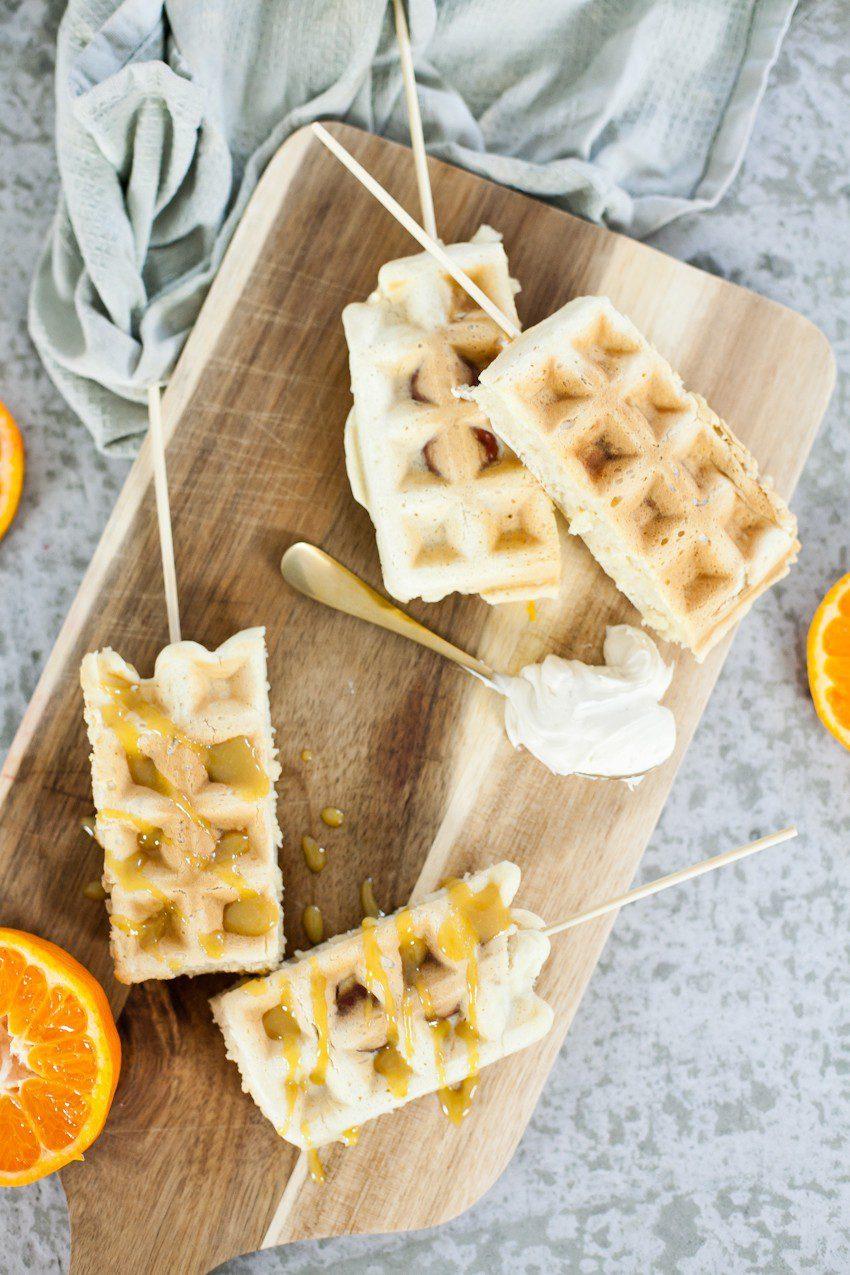 Hot Dog Wafflesticks with Orange Maple Glaze