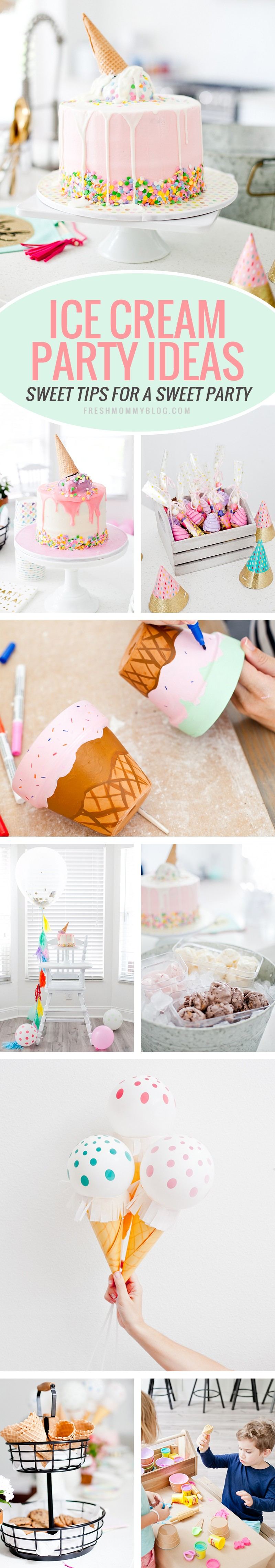 "Ice Cream Party Ideas for an Ice Cream Social Birthday Party with DIY Ice Cream Balloons, and ice cream cone ""spilled"" cake, Ice Cream bar with cookies for DIY ice cream cookies and more! Decorations, kids party, girls party tips from lifestyle blogger Tabitha Blue of Fresh Mommy Blog! #party #icecream #partydecor #partyideas"