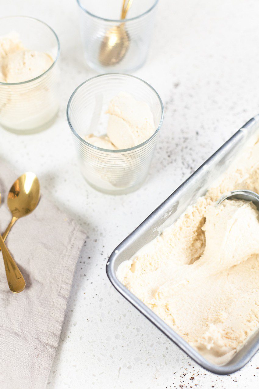 Deliciously sweet and creamy homemade coffee ice cream made with just three ingredients! Top it with a shot of espresso or pour over cold brew for an incredible coffee ice cream affogato style treat!
