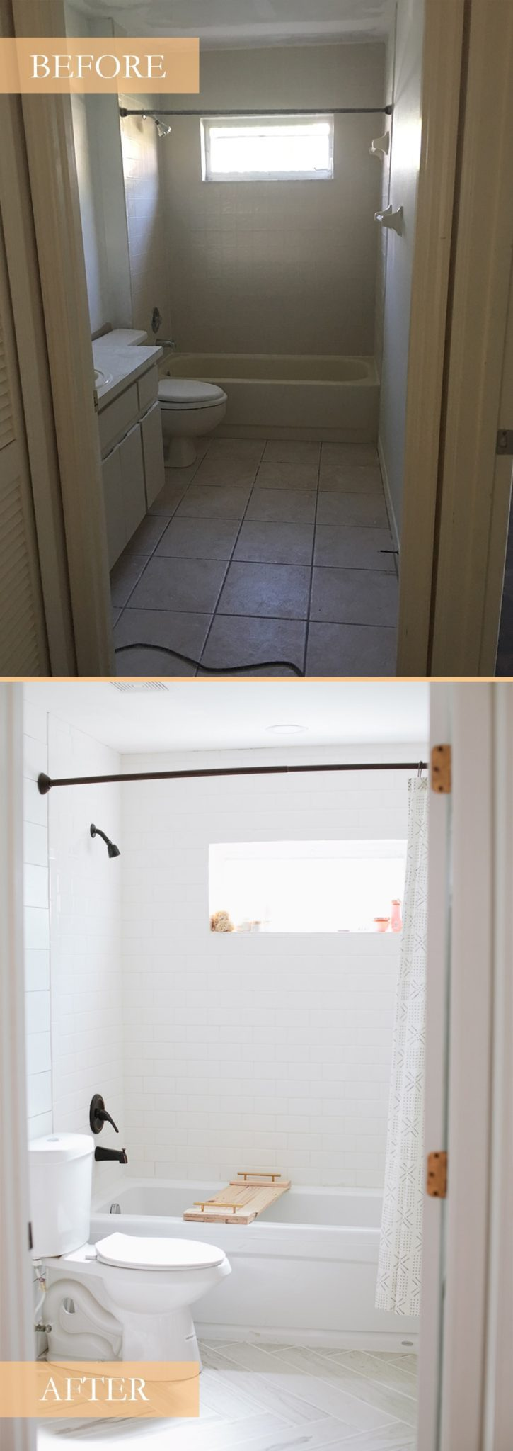 The before and after of a bright white bathroom remodel.
