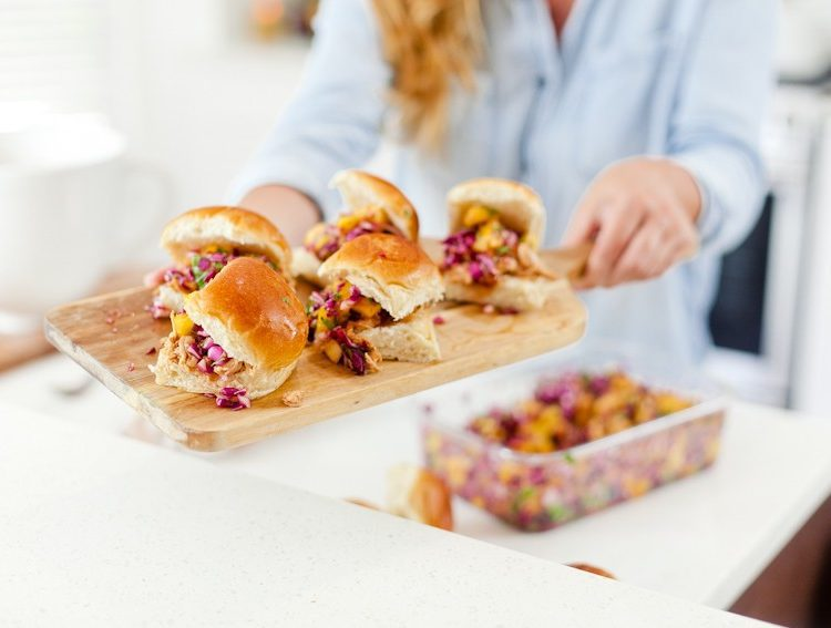 Easy Entertaining and BBQ Hawaiian Chicken Sliders recipe featured by popular Florida foodie blogger Fresh Mommy Blog