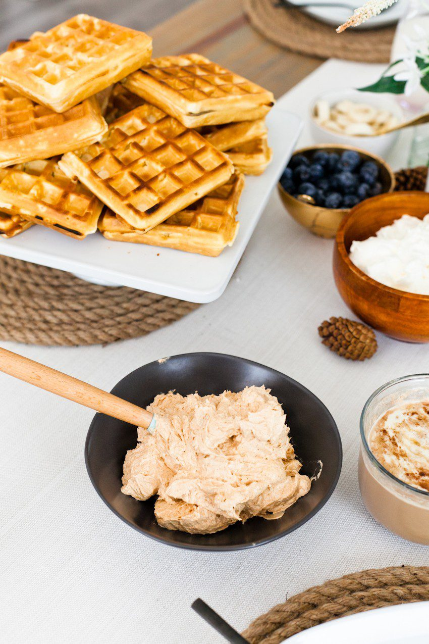 A Simply Delicious Family Brunch of Waffles with Homemade Pumpkin Butter and DIY Jute Placemats!