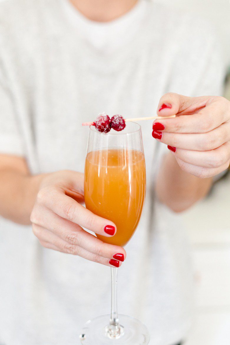 A mimosa bar makes a perfect addition to breakfast or brunch, and makes it easy on the hostess as guests can happily serve themselves. Just a small tweak makes it family-friendly, plus we're showing how to make beautiful sugared cranberries for the perfect holiday topper!