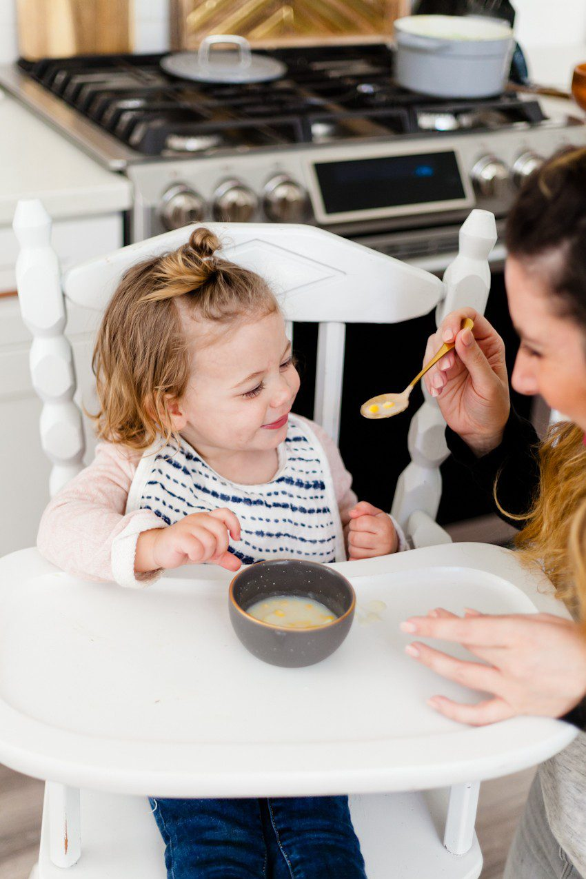 Wholesome baby soups, a creamy broccoli soup and a potato corn soup, are warm, creamy and come together in just minutes! Perfect for the family this winter.
