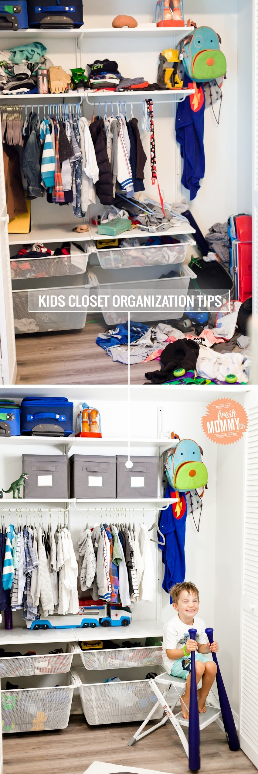 Fresh Mommy Blog, Tabitha Blue, Mommy, Travel & Lifestyle Blog You saved to HOME | Cleaning + Organization Kids Closet Organization ideas and DIY for a small shared closet! Using neutral white and gray, it's perfect for a boy or girl. Tips by popular Florida mom blogger Tabitha Blue of Fresh Mommy Blog