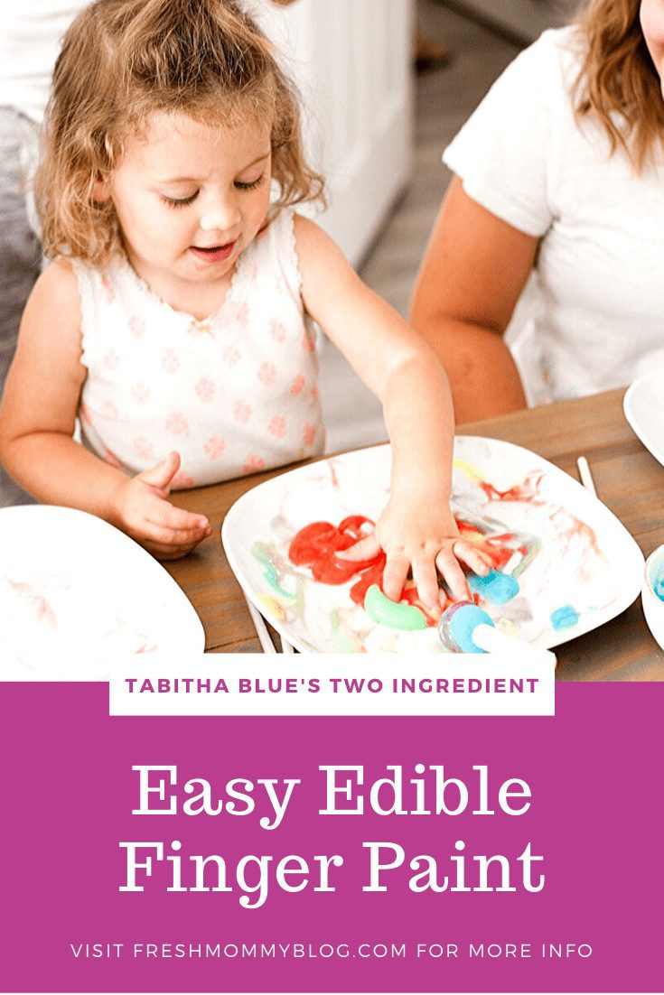 Easy Edible Finger Paint with JUST TWO INGREDIENTS from your kitchen. A fun learning activity for kids