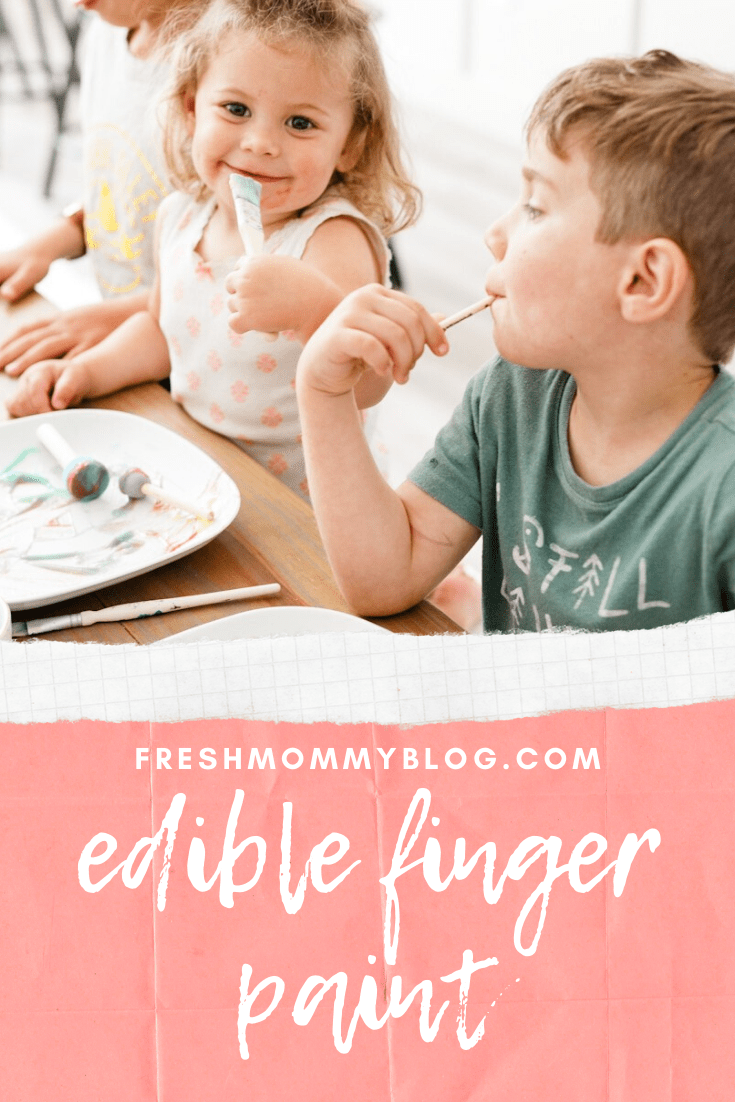 Easy Edible Finger Paint with JUST TWO INGREDIENTS from your kitchen. A fun learning activity for kids.