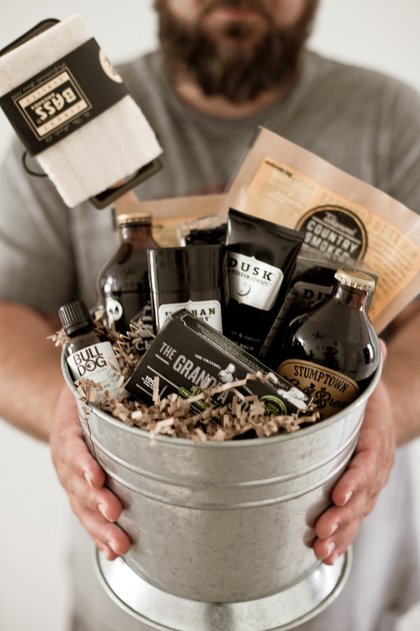The Manly Pampering Gift Basket for Father's Day with LOTS of fathers day gift ideas that will rock dad's world... or at least his shower. Unique Father's Day gift ideas featured by popular Florida lifestyle blogger, Tabitha Blue, Fresh Mommy Blog