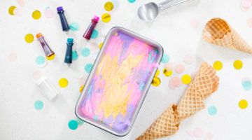 No Churn Unicorn Ice Cream Recipe! The perfect summer dessert, colorful unicorn party treat, and bright unicorn addition to an ice cream bar, sundae, cone or sandwich! The Ultimate Unicorn ice cream recipe featured by popular Florida lifestyle blogger Tabitha Blue of Fresh Mommy Blog. #unicorn #icecream #unicornparty #partyidea