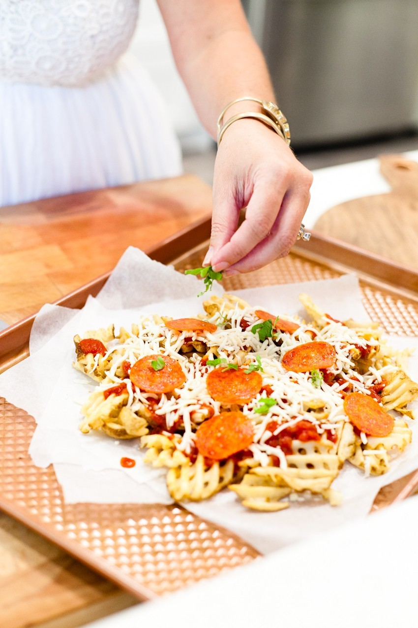 Delicious Pizza Waffle Fries Recipe, perfect for an at home date night and romantic summer date night ideas for parents featured by popular Florida lifestyle blogger Tabitha Blue, Fresh Mommy Blog