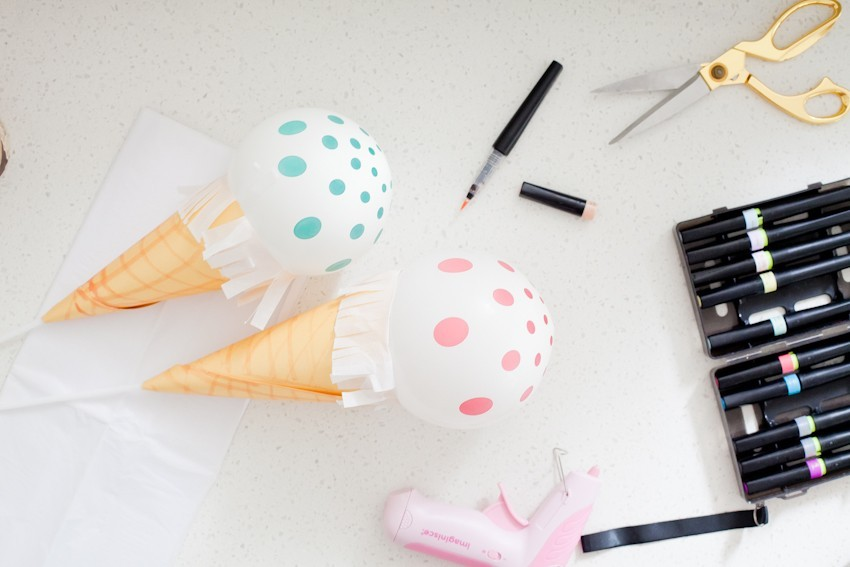 DIY Ice Cream Balloons featured by popular Florida lifestyle blogger, Tabitha Blue of Fresh Mommy Blog! The perfect party decor or centerpiece for a festive ice cream social or birthday party. #icecream #icecreamDIY #partyidea