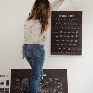 Cursive Chart School Room Art Print Download