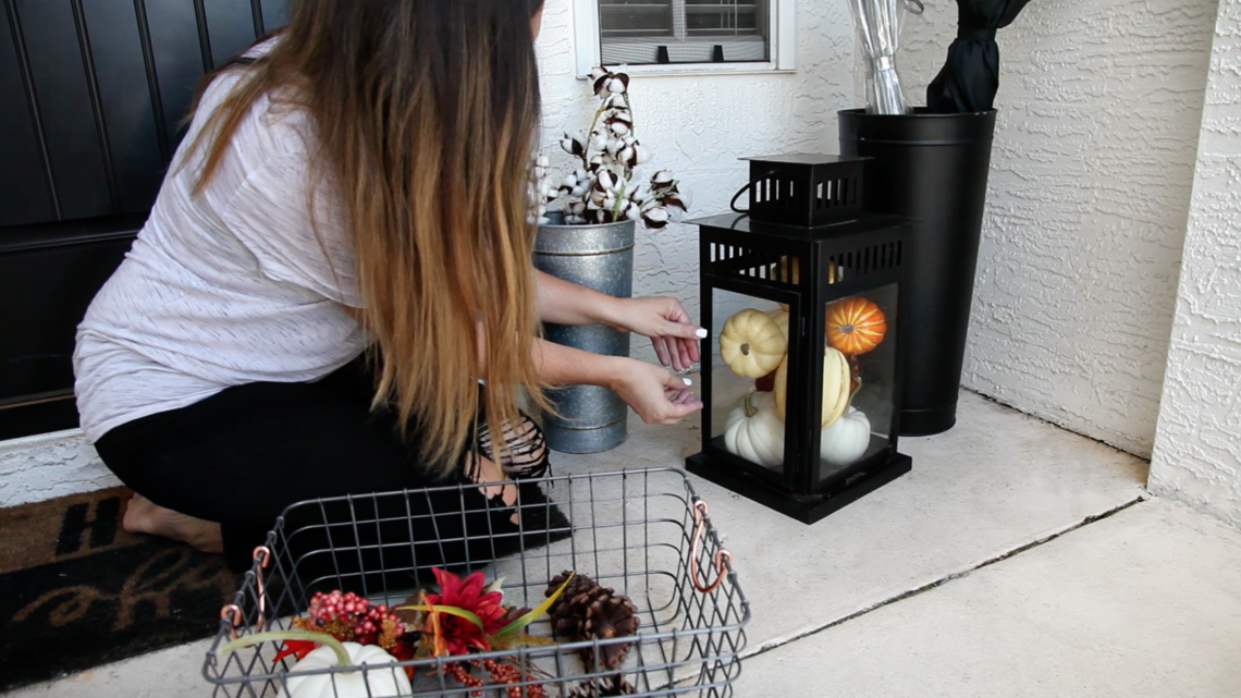 Small front porch BEFORE AND AFTER. Hello Fall! Easy Front Porch Decor Hacks For Your Autumn Front Door That Will Take You Through All Seasons. Entryway decor tips from popular Florida lifestyle blogger Tabitha Blue of Fresh Mommy Blog.