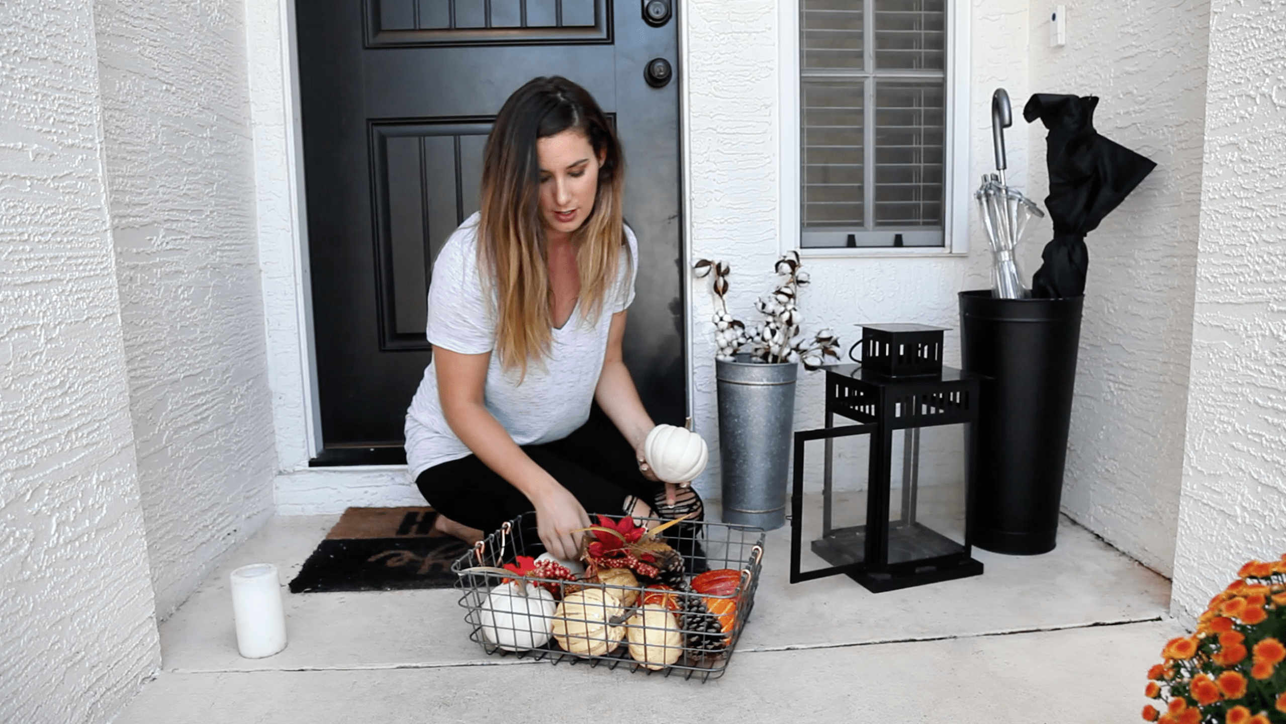 BEFORE AND AFTER |  Therma-Tru Benchmark | Tabitha Blue | Hello Fall + Easy DIY Front Porch Decor Hacks That Will Take You Through All Seasons featured by top Florida lifestyle blog Fresh Mommy Blog