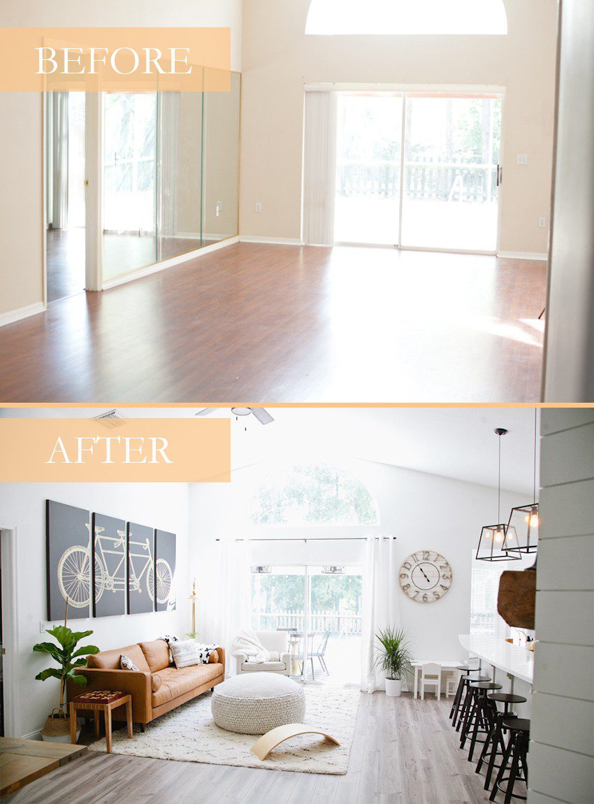 Seeing past dated paint colors, a wall of mirrors, popcorn ceiling and mismatched flooring, this ultimate living room has been completely transformed to a cozy and comfortable open family living space with bold statement pieces like our Article sofa, neutral colors and touches of sleek mid century and Scandinavian inspired design. The ultimate living room makeover before and after for a busy family from popular Florida lifestyle blogger Tabitha Blue of Fresh Mommy Blog. | Article sofa featured in the latest living room makeover by top Florida lifestyle blog, Fresh Mommy Blog | Article sofa featured in the latest living room makeover by top Florida lifestyle blog, Fresh Mommy Blog